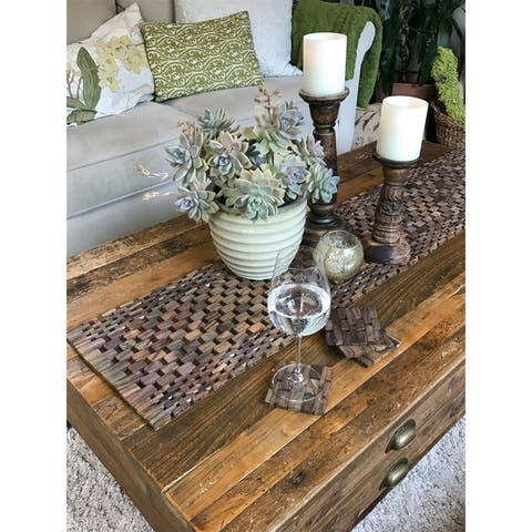 Handmade Brown Rosewood Coaster, Set of 4 (Indonesia)