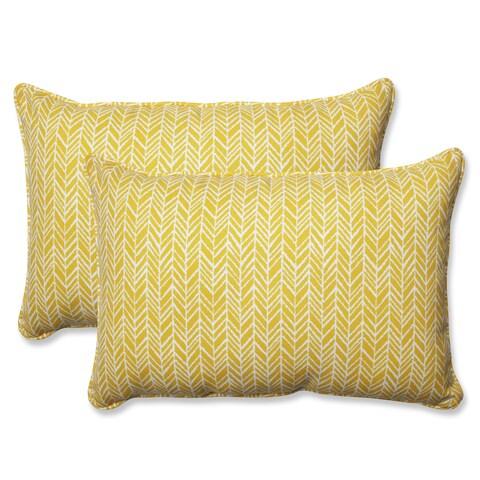 Pillow Perfect Outdoor/ Indoor Herringbone Egg Yolk Rectangular Throw Pillow (Set of 2)
