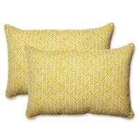 Pillow Perfect Outdoor/ Indoor Herringbone Egg Yolk Rectangular Throw Pillow (Set of 2)