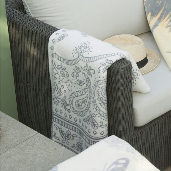 Cotton Pure Paisely Reversible Grey/ White Throw Blanket