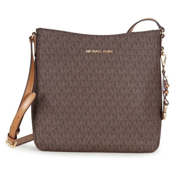 c72f81232d6f2f Shop Michael Kors Jet Set Travel Large Brown Logo Crossbody Handbag ...