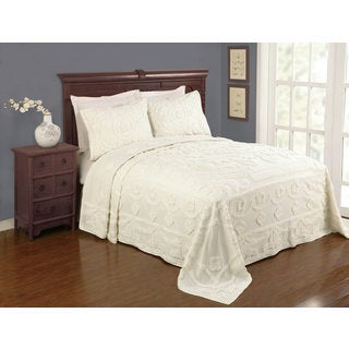Peking Handicraft Valerie Ecru Cotton Chenille Full Size Bedspread (Shams Sold Separately)