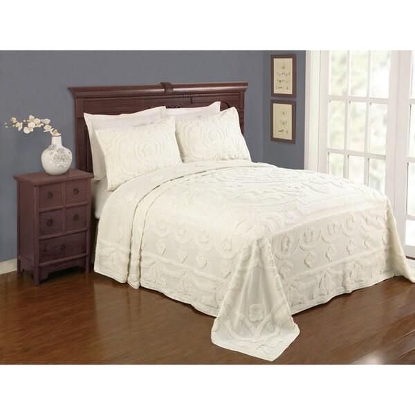 Peking Handicraft Valerie Ecru Cotton Chenille Full Size Bedspread (Shams Sold Separately)