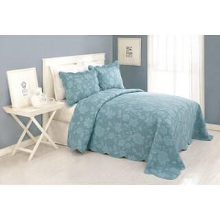 Peking Handicraft Janet Blue Cotton Bedspread (Shams Sold Separately)