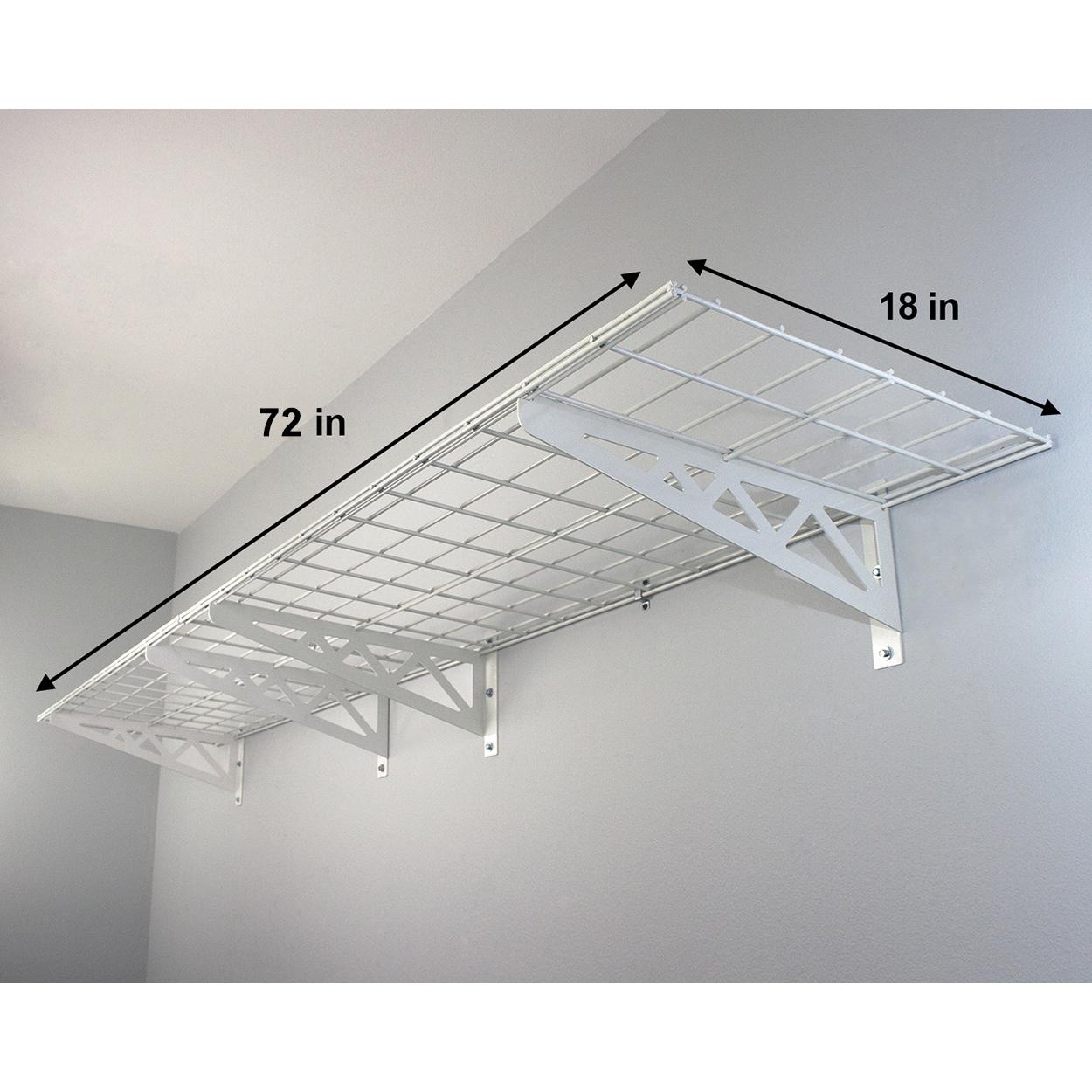 Wall Mounted Shelves Rack Storage Steel Frame Garage Organizer White ...