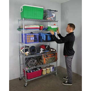 "SafeRacks NSF Wheeled 6-shelf Wire Shelving Rack (18"" x 48"" x 72"")"