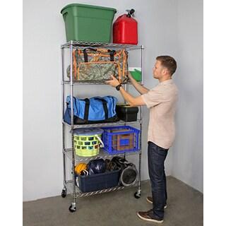 "SafeRacks NSF Wheeled 5-tier Wire Shelving Rack (18"" x 36"" x 72"")"