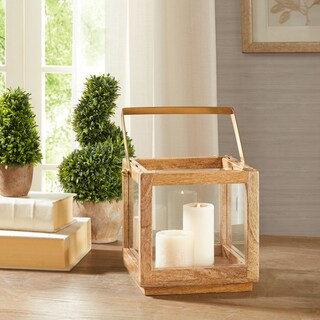 Madison Park Parker Natural Brass Accent Medium Lantern