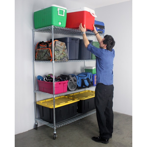 Shop Saferacks Nsf Wheeled 4 Tier Wire Shelving Rack 24