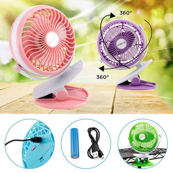 GOLDT1 New Charging USB Small Fan Baby Stroller Student Desk Cabinet Bed Clip Electric Fan Handheld Silent Portable Color : Grey, Size : 136x86x165mm 720 Degree rotatable Office Essential Fan