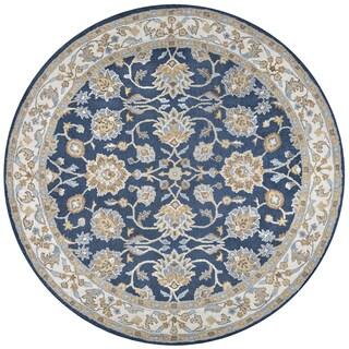 Rizzy Home Ashlyn Blue Wool Border Round Area Rug (8' x 8') - 8' x 8'