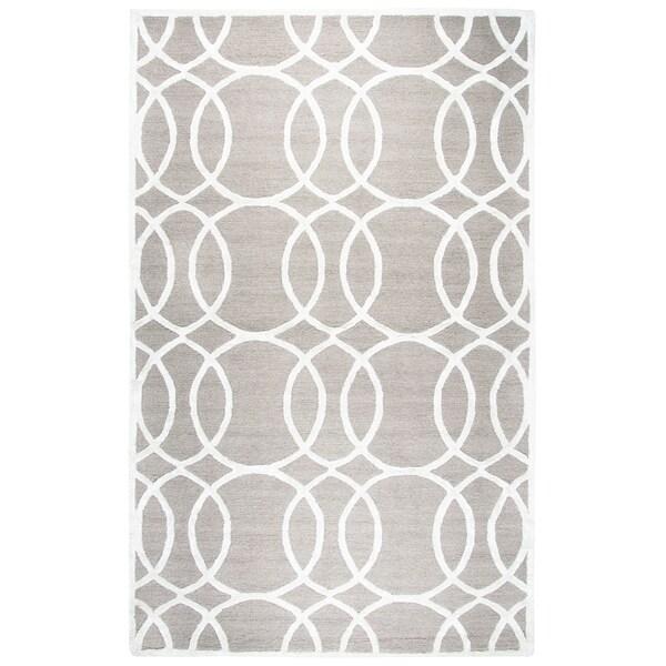 Hand-tufted Monroe Light Grey Geometric Wool and Viscose Area Rug (9' x 12')