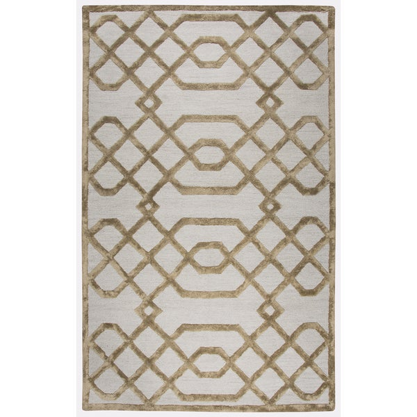 Rizzy Home Monroe Cream Wool Hand-tufted Trellis Area Rug (9' x 12')