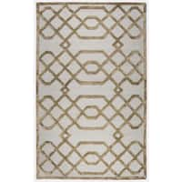 Rizzy Home Monroe Cream Wool Hand-tufted Trellis Area Rug (8' x 10')