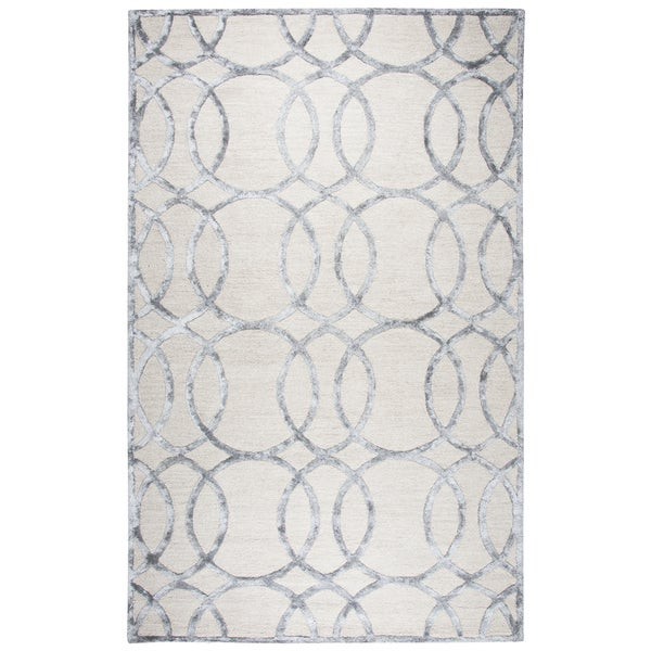 Rizzy Home Monroe Cream Wool Hand-tufted Geometric Area Rug (9'x12')