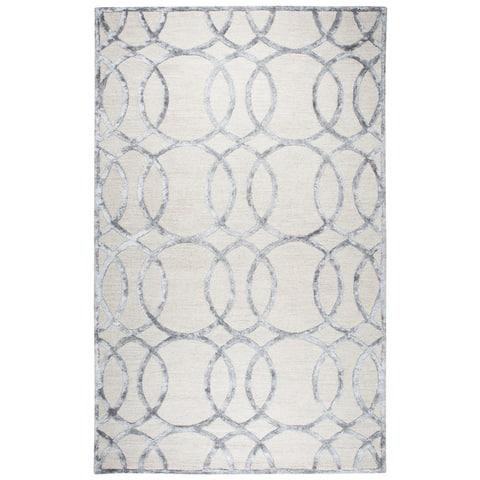Madison Cream-colored Wool/Viscose Geometric Hand-tufted Area Rug (8' x 10') - 8' x 10'