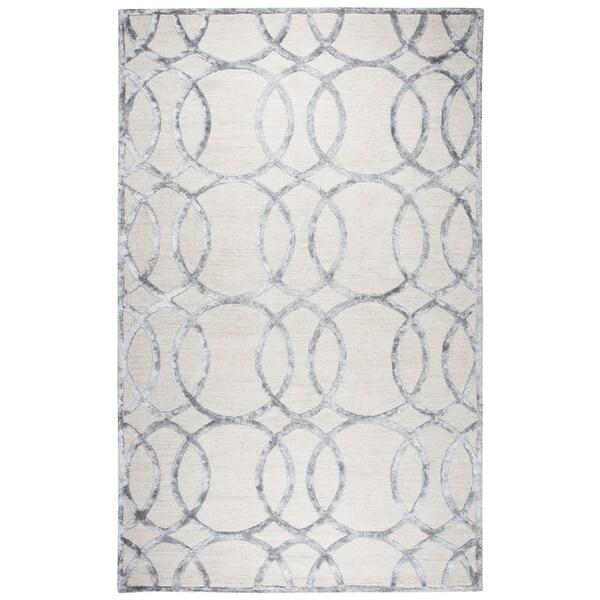 Monroe Cream-colored Wool/Viscose Geometric Hand-tufted Area Rug (8' x 10')