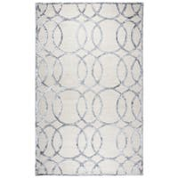 Monroe Cream-colored Wool/Viscose Geometric Hand-tufted Area Rug (8' x 10')