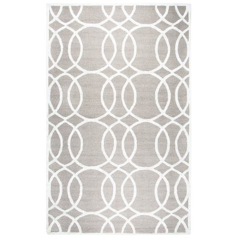Hand-tufted Madison Light Grey Wool and Viscose Geometric Rug (3' x 5') - 3' x 5'
