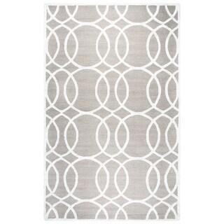 Rizzy Home Hand-tufted Monroe Light Grey Wool and Viscose Geometric Rug (3' x 5')