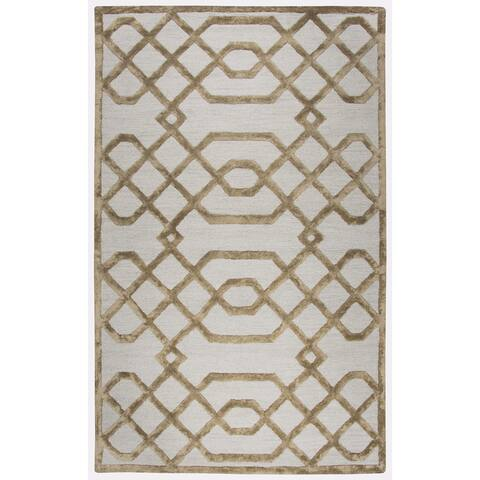 Madison Trellis Cream Wool and Viscose Rug (3'x5') - 3' x 5'