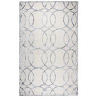 Hand-tufted Monroe Cream Geometric Wool and Viscose Rug - 3' x 5'