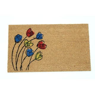 Blowing Flowers Natural Coir 18-inch x 30-inch Door Mat