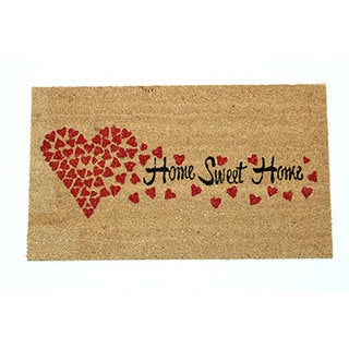 Natural Coir 18-inch x 30-inch 'Home Sweet Home' Hearts Door Mat