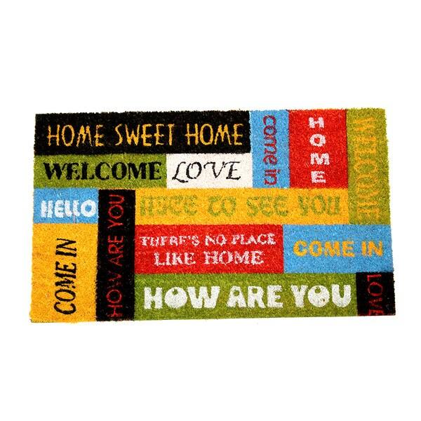 Welcome Sentiments Coir Door Mat (18 Inch x 30 Inch)