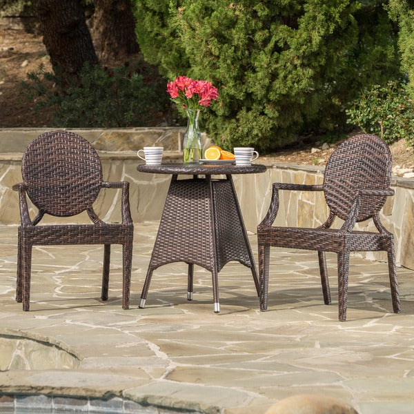 Delta Outdoor Round Wicker 3 Piece Bistro Set With Umbrella Hole By  Christopher Knight Home