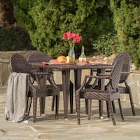 Lexington Outdoor Square Wicker 5-piece Dining Set by Christopher Knight Home