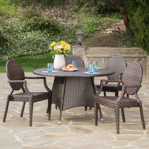Dixon Outdoor Round Wicker 5-piece Dining Set with Umbrella Hole by Christopher Knight Home