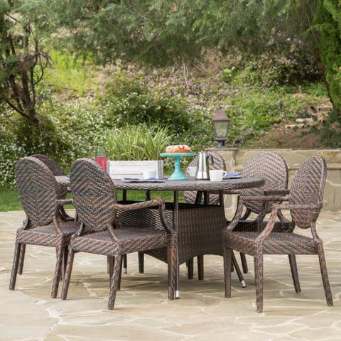 Bishop Outdoor Oval Wicker 7-piece Dining Set by Christopher Knight Home