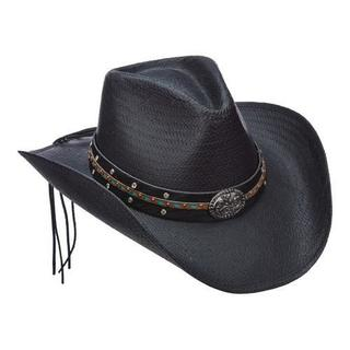 Women's Scala LT203 Toyo Pinch Cowboy Hat with Turquoise Stone Black