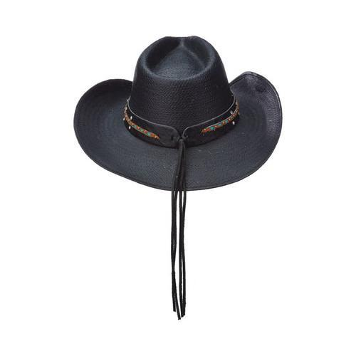 c364775f313a6b Shop Women's Scala LT203 Toyo Pinch Cowboy Hat with Turquoise Stone Black -  Free Shipping Today - Overstock - 14649954