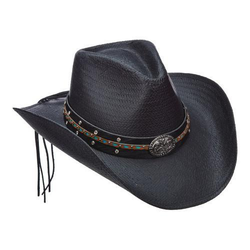 742494243ea38 Shop Women s Scala LT203 Toyo Pinch Cowboy Hat with Turquoise Stone Black -  Free Shipping Today - Overstock - 14649954