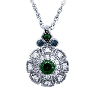Sterling Silver 1/4CTtw Art Deco White, Blue and Green Diamond Pendant