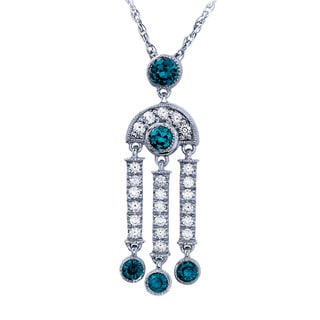 Sterling Silver 1/3CTtw White, Blue and Green Diamond Art Deco Pendant