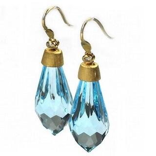 De Buman 18k Yellow Gold Genuine Swiss Blue Topaz and Diamond Earrings(G-H, I1-I2)