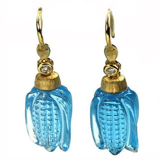 De Buman 18k Yellow Gold Swiss Blue Topaz and Diamond Accent Earrings (G-H, I1-I2)