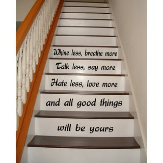 Quote Love Breathe More Staircase Stairway Phrase Art Mural Vinyl Sticker Home Interior Sticker Decal size 22x35 Color Black