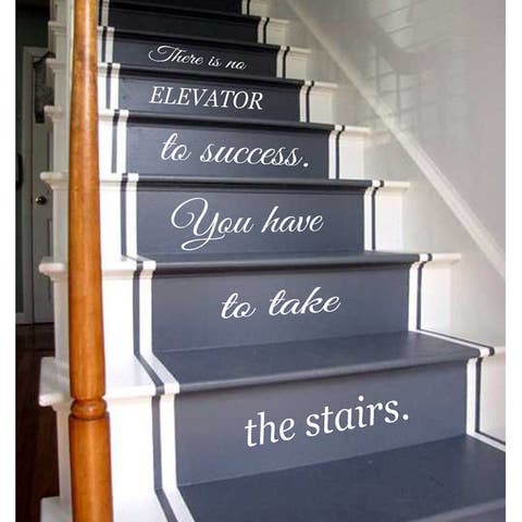 Quotes Staircase Stairway Stairs Phrase Art Mural Vinyl Decal Sticker Interior Design Decor Sticker Decal size 22x35 Color White