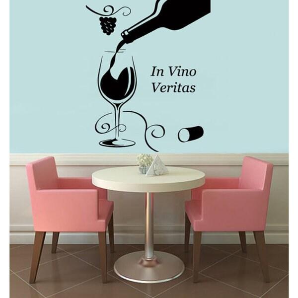 In Vino Veritas Quote Wine Glass Bottle Floral Grapevine Vinyl - Vinyl stickers for glass bottles