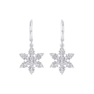 Sterling Silver 1/10ct TDW Snow Flake Dangle Diamond Earrings (J-K,I1-I2)