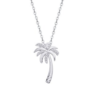 Sterling Silver 1/10ct TDW Palm Tree Diamond Pendant (J-K,I1-I2)