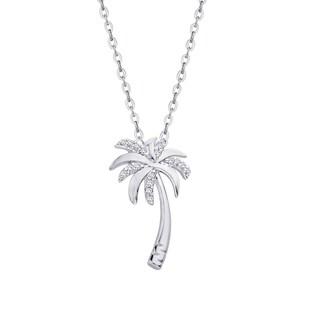 Sterling Silver 1/10ct TDW Palm Tree Diamond Pendant (J-K,I1-I2)