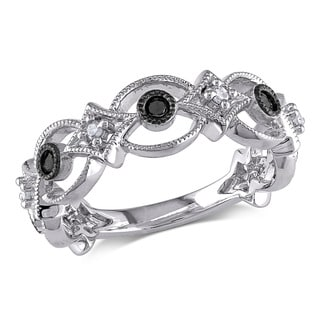 Miadora Sterling Silver 1/6ct TDW Black and White Diamond Ring
