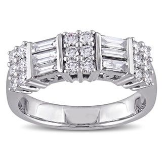 Miadora Signature Collection 14k White Gold 1ct TDW Round and Parallel Baguette-Cut Diamond Anniversary Band (G-H, SI1-SI2)