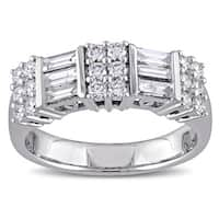 Miadora Signature Collection 14k White Gold 1ct TDW Round and Parallel Baguette-Cut Diamond Annivers