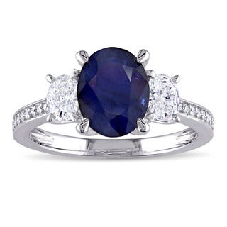 Miadora Signature Collection 14k White Gold Diffused Sapphire and 5/8ct TDW Oval and Round Diamond Engagement Ring (G-H, I1-I2)